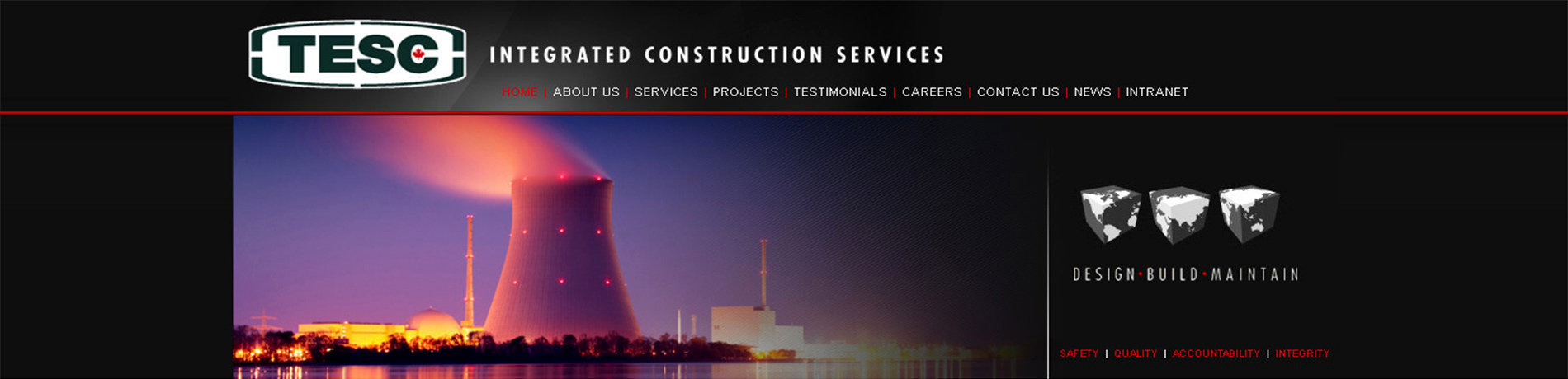 TESC Integrated Construction Services website showing power plant at night.
