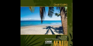 Exide incentive travel reward brochure cover with Maui beach scene.