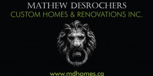 MD Homes business card with lion door knob