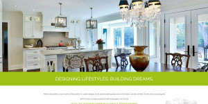 Mathew Desrochers Custom Homes and Renovations website with photo of the interior of a beautiful home renovation