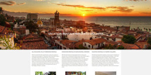RSA Rentals website landing page with photos of Burlington furnished rentals and Puerto Vallarta vacation condos