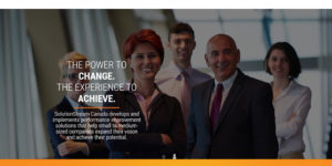 SolutionStream website landing page with photo of management team.