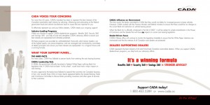 CADA Services marketing brochure inside spread