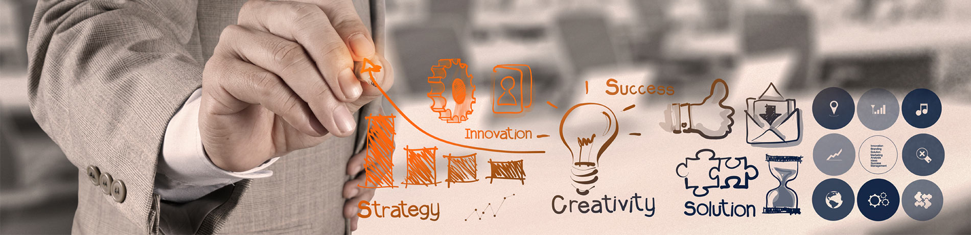 RSA Marketing Canada marketing services with man drawing strategy, creativity, innovation, success and solution on clear board.