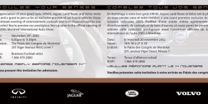 Jaguar, Volvo, Land Rover, Infiniti auto show direct mail