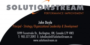 SolutionStream Performance Improvement Group, Burlington, Ontario business card