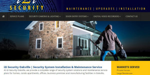 i2i Security website with photo of man looking to break into home.