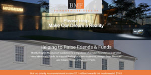 Burlington Museums Foundation website landing page with architects concept drawing.