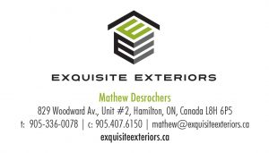 Exquisite Exteriors logo with E block and roof