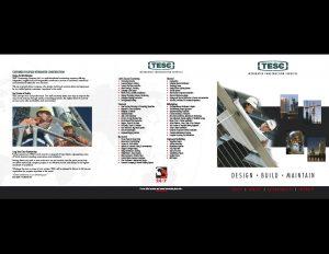 TESC 6-panel sales folder outside.