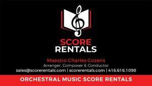 Orchestral Music Score Rentals Business Card